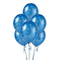 Blue with Trains Latex Balloons 6 Pack